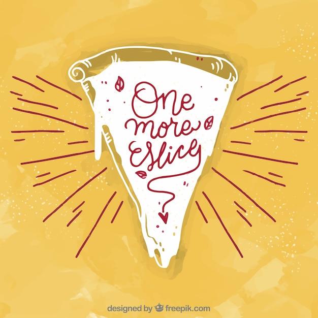 Fondo vintage de trozo de pizza dibujado a mano vector gratuito