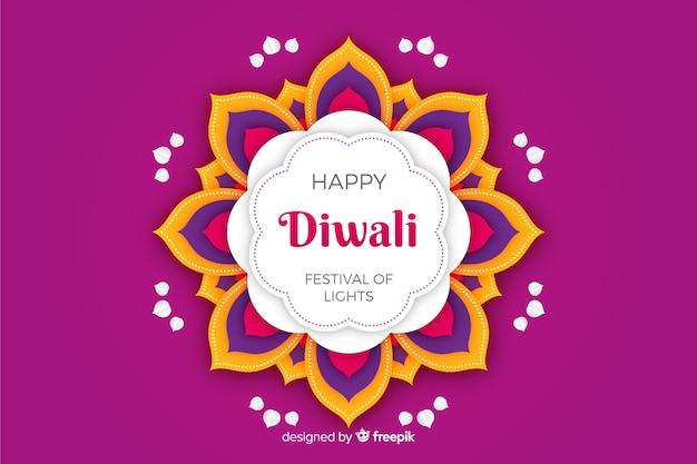 Fondo violeta de diwali en papel estilo vector gratuito