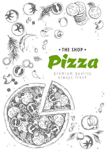 Fondo de la vista superior de pizza italiana Vector Premium