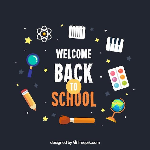 Fondo de vuelta al colegio con diseño plano vector gratuito