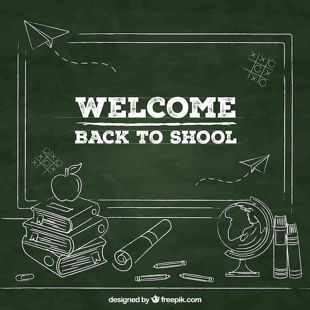 Fondo de vuelta al colegio con estilo de pizarra vector gratuito