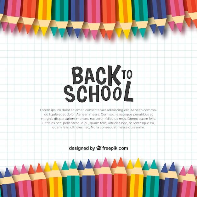 Fondo de vuelta al colegio con lápices de colores vector gratuito