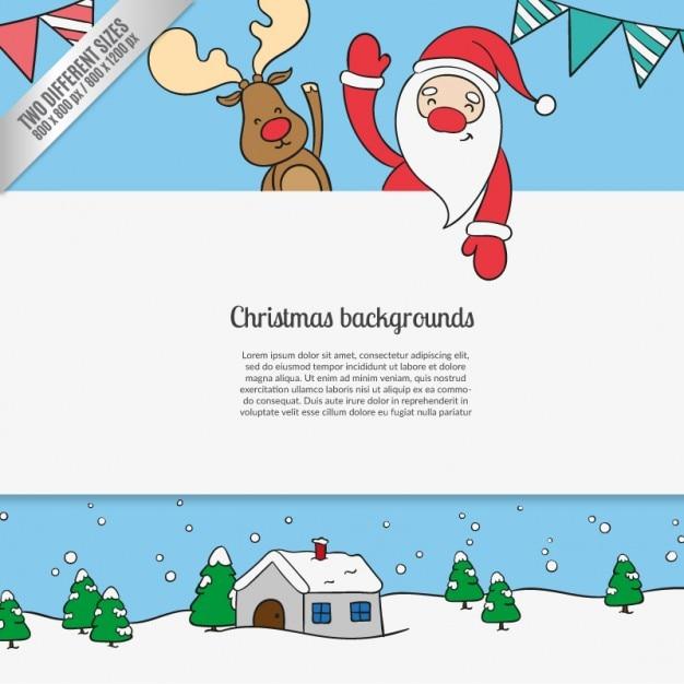 Fondos de dibujos animados de navidad | Descargar Vectores gratis