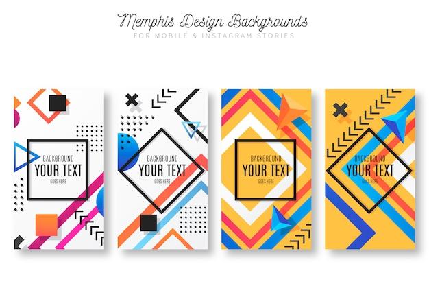 Fondos de diseño de memphis para historias de móvil e instagram vector gratuito