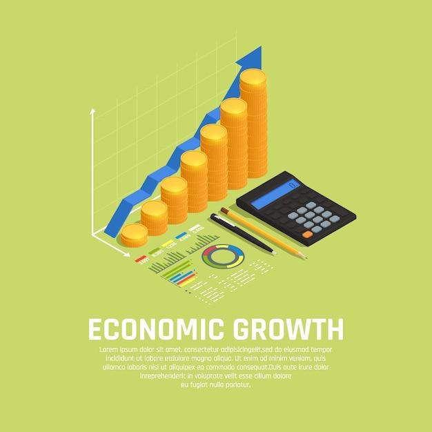 Fondos de inversión que aumentan la composición isométrica del desarrollo del mercado financiero con un diagrama y una calculadora de crecimiento económico vector gratuito
