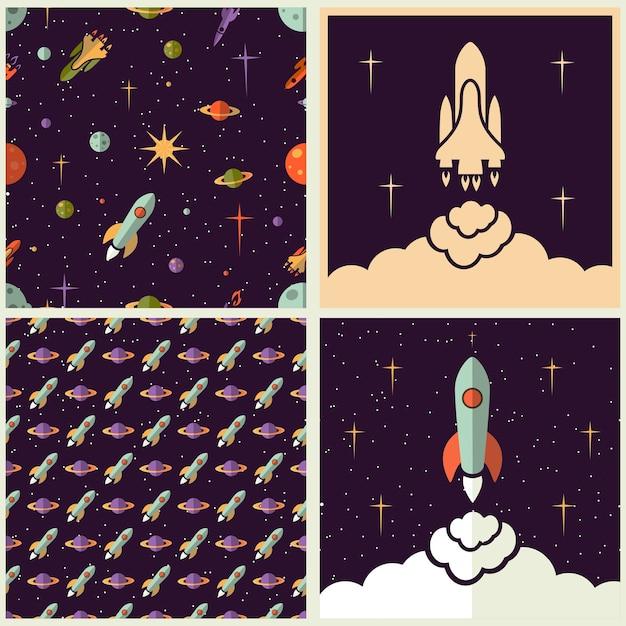 Fondos de planetas, cohetes y estrellas en diferentes estilos vector gratuito