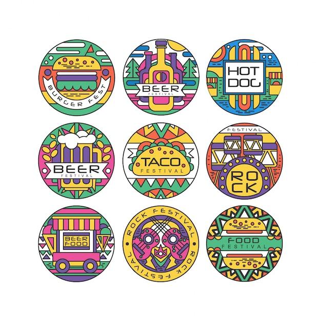 Food festival logo set, burger fest, beer festival, hot dog, tako festival, rock food and music round labels or stickers ilustraciones Vector Premium