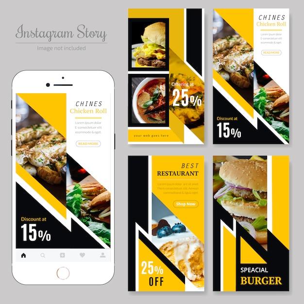 Food social media post template para restaurante Vector Premium