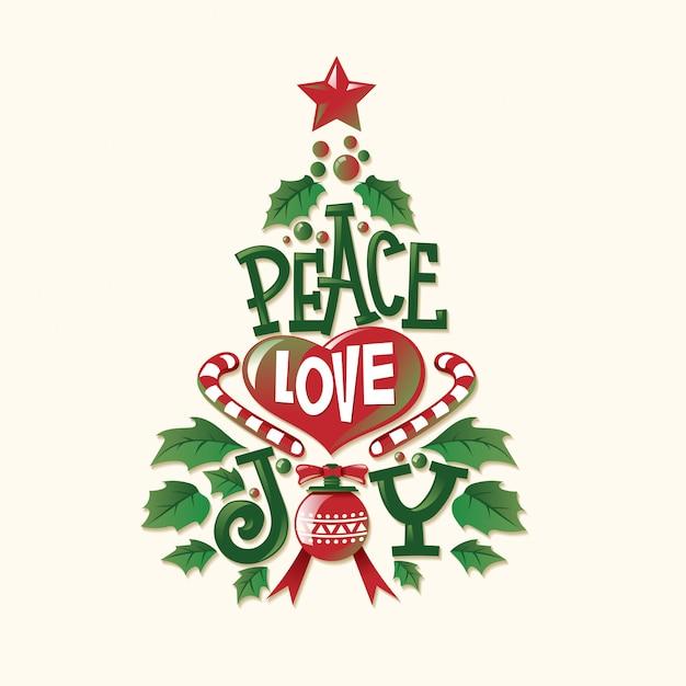 Forma de árbol de navidad con cita y letras únicas para tarjetas de felicitación y decoración Vector Premium