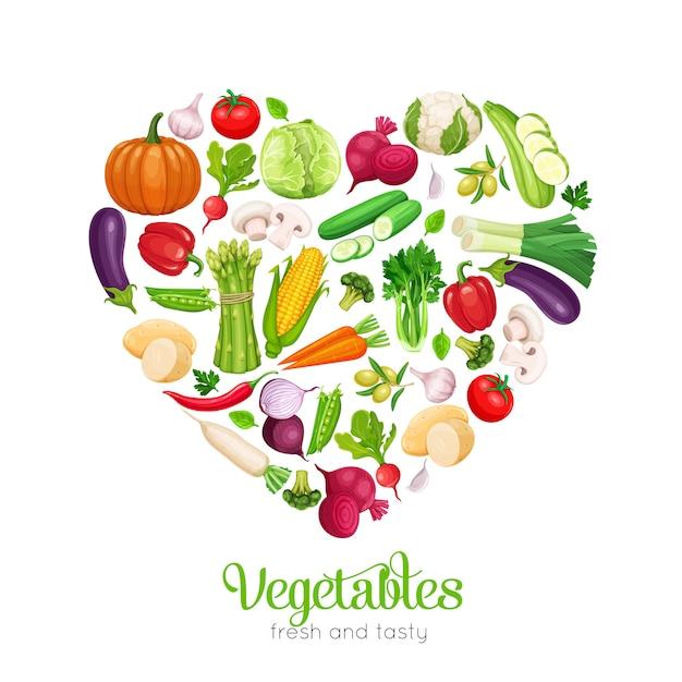 En forma de corazón con verduras Vector Premium