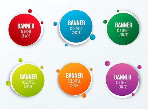 Forma de cuadros de texto círculo colorido, pancartas redondas. Vector Premium