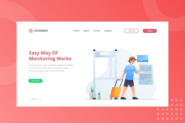 Una forma fácil de monitorear la ilustración de trabajos para trabajar desde el concepto de hogar en la página de inicio Vector Premium