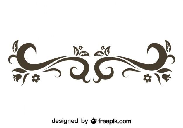Forma floral con remolinos retro descargar vectores gratis for Formas ornamentales