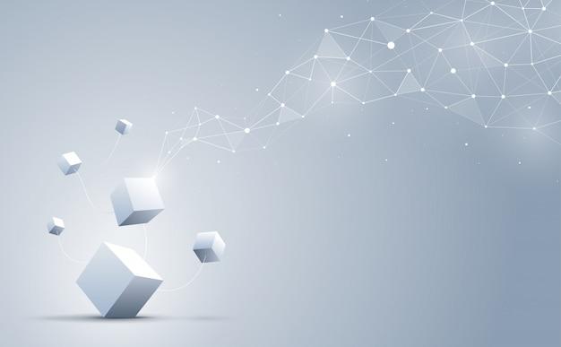 Forma geométrica abstracta y conexión con cubos 3d en el fondo. Vector Premium