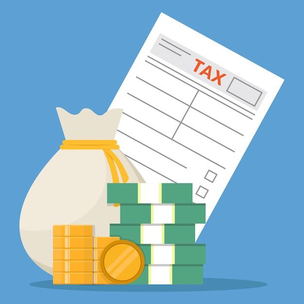 Forma de impuestos y dinero, diseño plano, ilustración vectorial Vector Premium