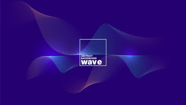 Forma de onda abstracta sobre fondo violeta azul neón. Vector Premium