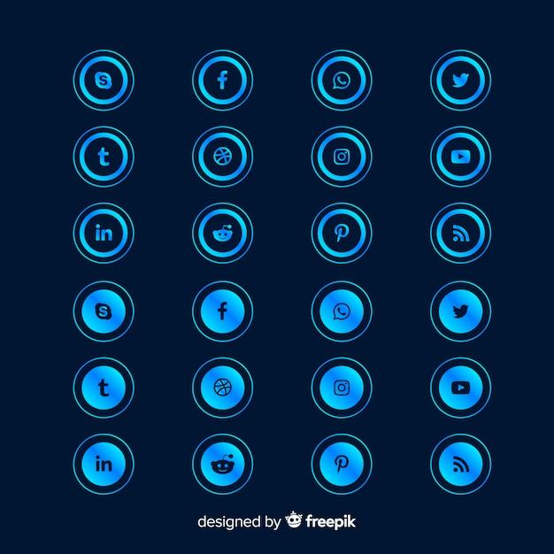 Forma redonda de la colección de logotipos degradados de redes sociales vector gratuito