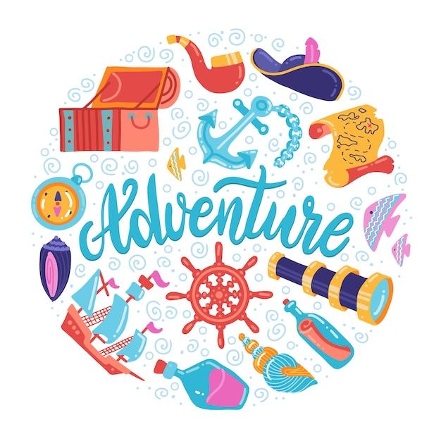 Forma redonda de los símbolos de sea adventure con letras. tesoro, ancla, letreros de faro Vector Premium