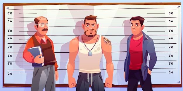 Formación de policías para ilustración de identificación criminal vector gratuito