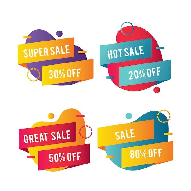 Formas abstractas y cintas para pancartas de ventas vector gratuito
