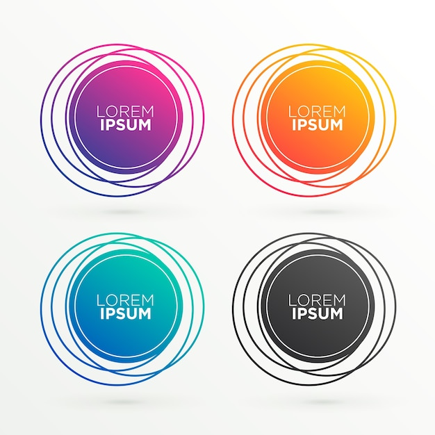 Formas de banner circulares trendys con espacio para texto vector gratuito