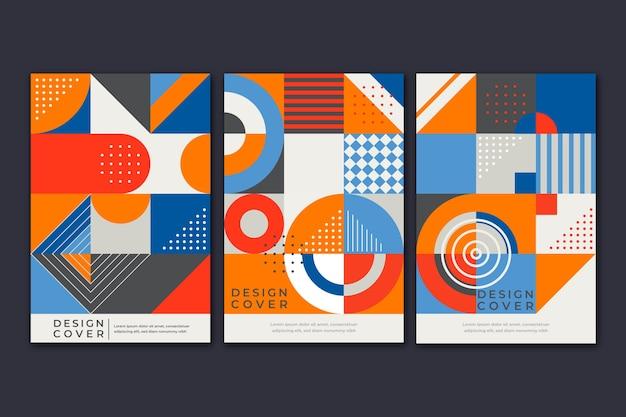 Formas coloridas y cubierta de puntos para la colección de libros. vector gratuito