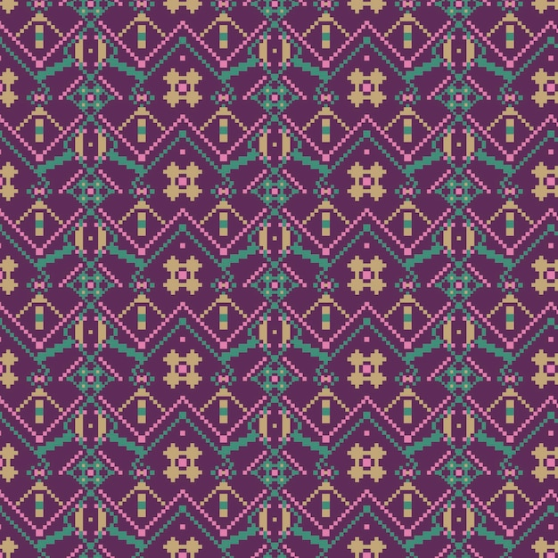 Formas de diamantes violetas de la plantilla de patrones sin fisuras de songket Vector Premium
