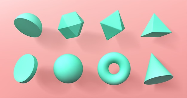 Formas geométricas 3d hemisferio, octaedro, esfera y toro, cono, cilindro y pirámide vector gratuito