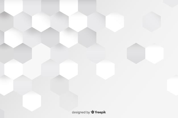 Formas geométricas blancas en papel. vector gratuito