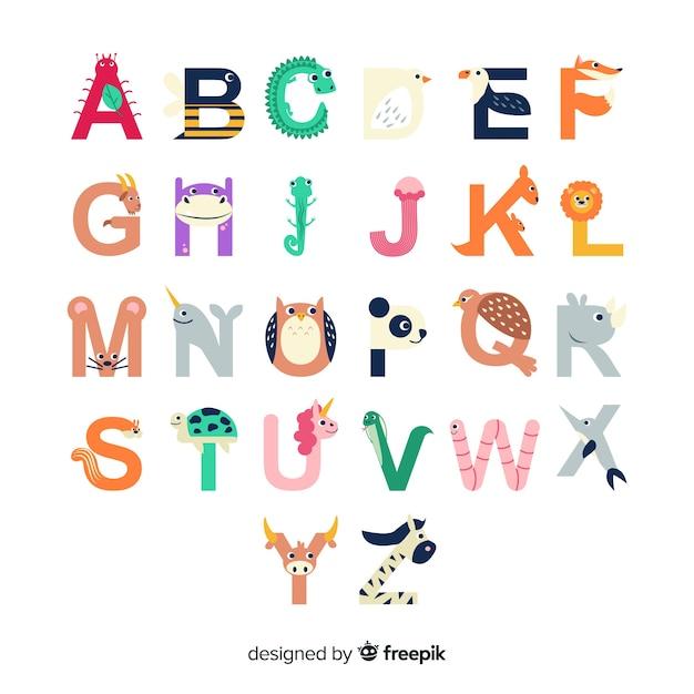 Formas de letras del alfabeto con animales vector gratuito