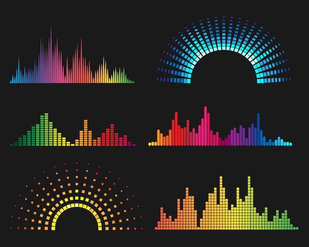 Formas de onda digitales de música Vector Premium