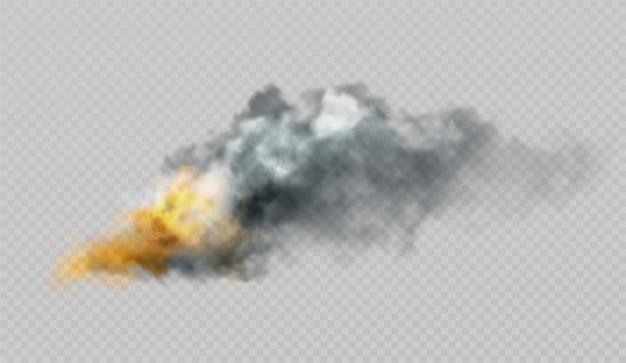 Formas realistas de humo y fuego sobre un fondo. Vector Premium