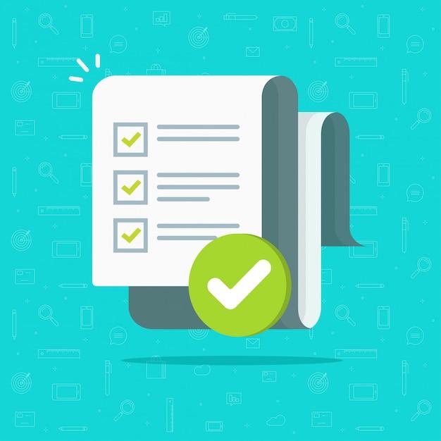 Formulario de encuesta o examen hoja de papel larga con lista de verificación de cuestionarios respondidos y dibujos animados planos de evaluación de resultados de éxito Vector Premium