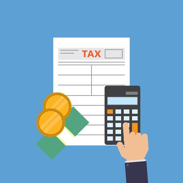 Formulario de impuestos, dinero, calculadora, calcular impuestos, ilustración vectorial diseño plano Vector Premium