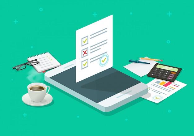 Formulario en línea de encuesta o informe de resultados de prueba de examen de prueba en teléfono móvil isométrico Vector Premium