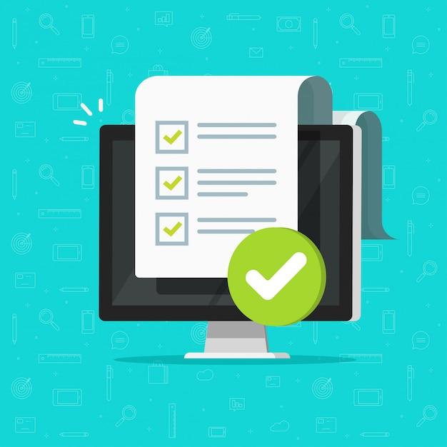 Formulario de lista de verificación de encuesta o lista de tareas completa en dibujos animados de ilustración de pc de computadora Vector Premium