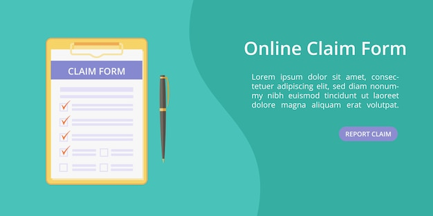 Formulario de reclamo en el portapapeles con plantilla web de bolígrafo Vector Premium