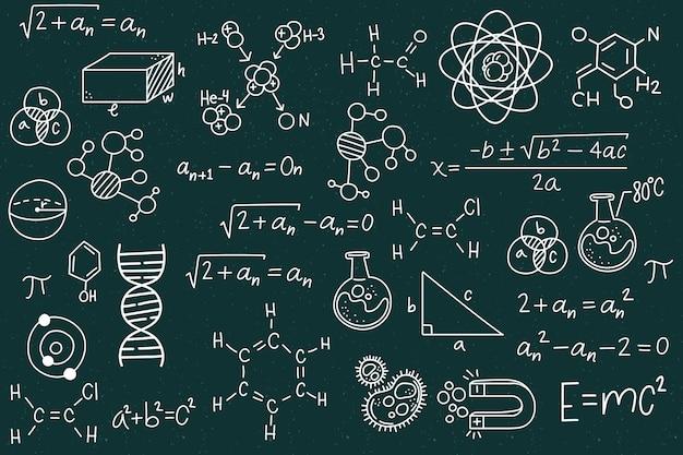Fórmulas científicas dibujadas a mano en pizarra vector gratuito