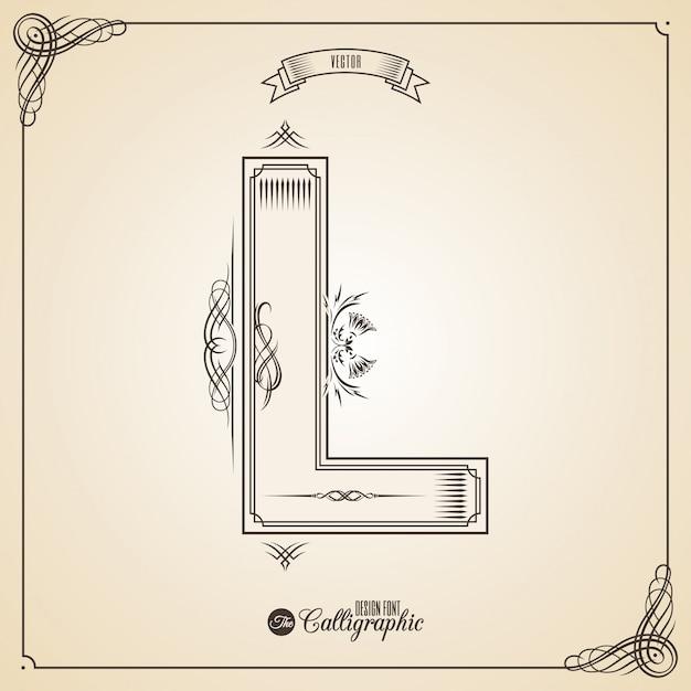 Fotn caligráfico con borde, elementos de marco y símbolos de diseño de invitaciones. Vector Premium