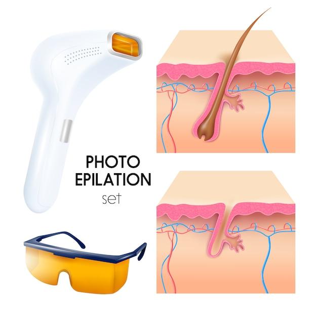 Foto conjunto de ilustración realista de depilación vector gratuito