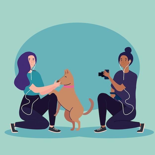 Fotógrafo mujer tomando una foto a mujer con diseño de ilustración de mascota perro Vector Premium