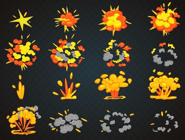 Fotogramas clave de animación de explosión de dibujos animados de bomba. ilustración de vista superior y frontal de bang Vector Premium