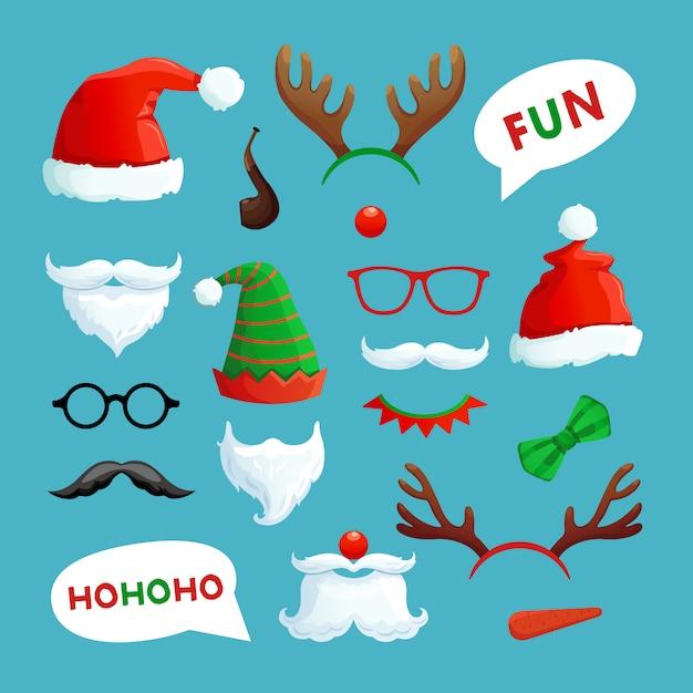Fotomatón de navidad. santa sombreros bigote barba y astas de reno colección de accesorios de navidad Vector Premium