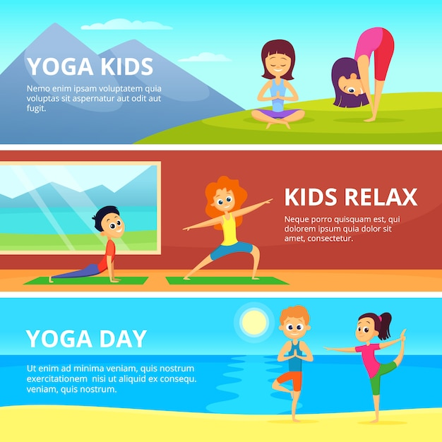 Fotos al aire libre de niños haciendo diferentes ejercicios de yoga. Vector Premium