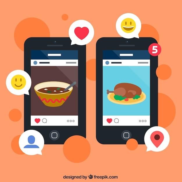 Fotos de aplicaciones de medios sociales vector gratuito