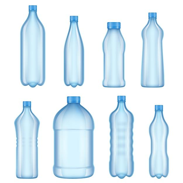 Fotos de varios tipos de botellas transparentes Vector Premium