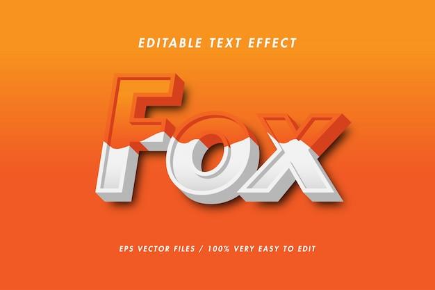 Fox - texto efecto premium, texto editable Vector Premium