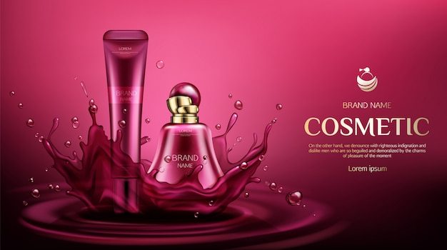 Fragancia de perfume y tubos de crema en salpicaduras de agua vector gratuito