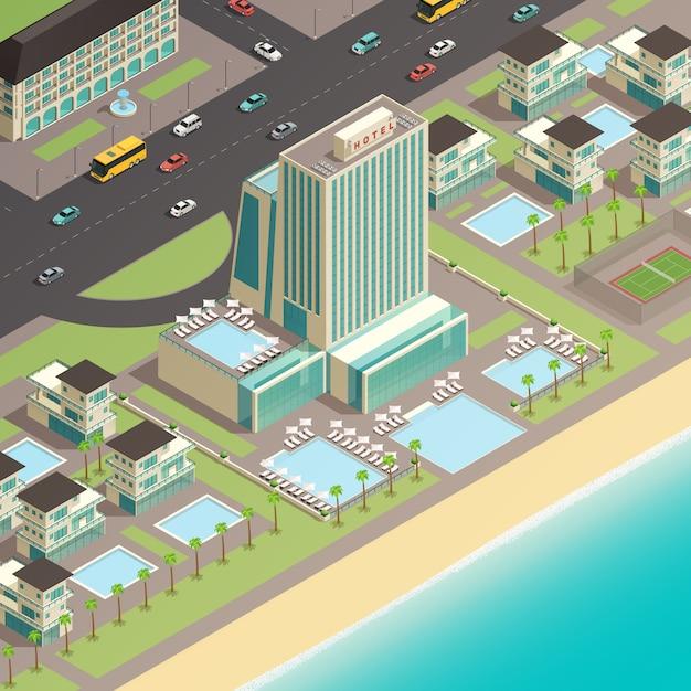 Fragmento isométrico del paisaje de la ciudad. vector gratuito