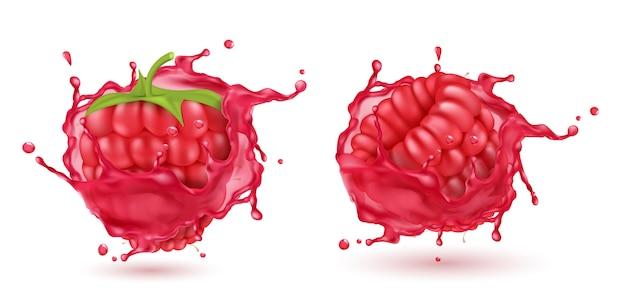 Frambuesas maduras realistas 3d en salpicar el jugo rojo. comida dulce con salpicaduras, gotas aisladas vector gratuito